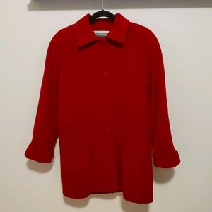 Simons Red Cashmere Wool Baggy Peacoat